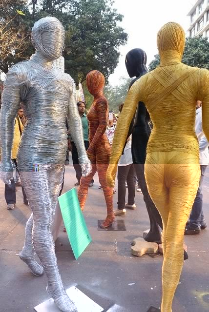 Tarevarchi Kasarat is a Visual Art Installation by Sonal Jadhav and Nikhil Borhade at the 2013 Kala Ghoda Art Festival.