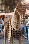 Cardboard Horse at the entrance to Kala Ghoda Arts Festival 2013, welcomes visitors.