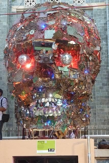 "Sukant Panigrahy's ""Kapala"" Visual Art Statue, stands out at the Kala Ghoda Arts Festival 2013 in Mumbai."