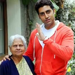 Abhishek Bachchan with Grandmother, Indira Bhaduri (Jaya Bachchan's mother).