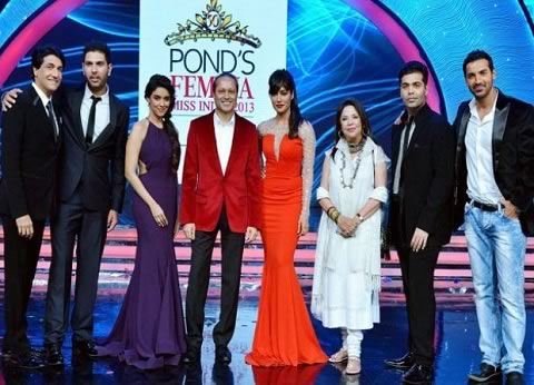 Judges at Femina Miss India 2013 were Shaimak Davar, Yuvraj Singh, Asin, Vineet Jain, Chitrangadha Singh, Ritu Kumar, Karan Johar, John Abraham