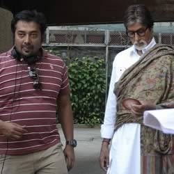 "Amitabh Bachchan and Anurag Kashyap at Prateeksha. They were filing ""Bombay Talkies"""