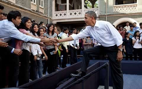 President Obama with Mumbai University Student. St Xavier's College is where this interaction took place.