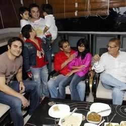 Salman Khan at home celebrating Eid with his family (nephews, niece, brothers, sisters, parents).