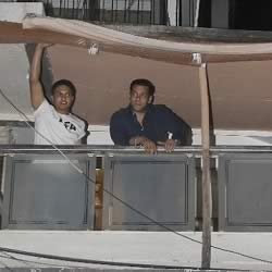 Salman Khan on the balcony of his 1st floor Galaxy Apartments home.