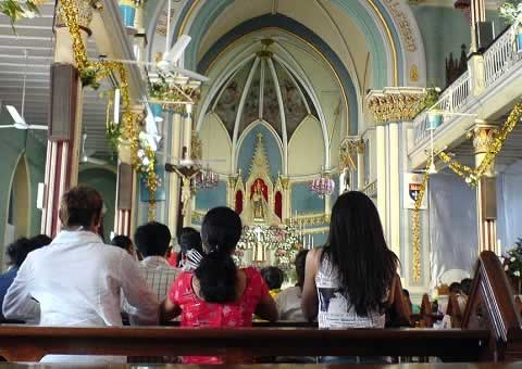 Worshippers at the Mount Mary Basilica at Bandra West in Mumbai.