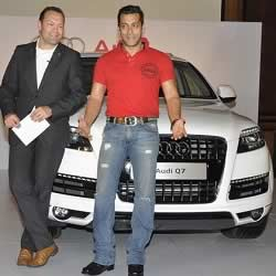 Salman Khan is given an Audi Q7 car by Michael Perschke.