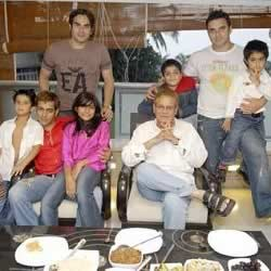 Salman Khan celebrating Eid with is family at their Galaxy Apartment house.