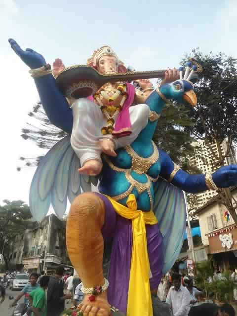 Panchsheel Seva Mandal's Ganesh is on a Blue Peacock. Among Mumbai's best Idols.