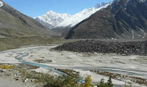 Dry river bed of River Dracha in Lahaul and Spiti district in HP