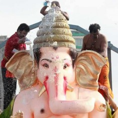 GSB Seva Mandal Ganpati Visarjan. Ganesh Idol without jewelry.