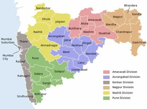 Map of Maharashtra's districts and division for elections