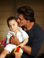 Picture of Shahrukh Khan with his youngest son, AbRam.