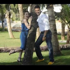 Akshay Kumar with Kylie Minogue in the Lawn of His House
