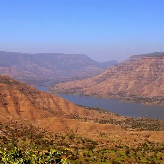 View of Krishan River Valley from Tableland in Panchgani