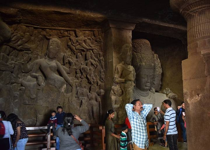 Photo of idols in Cave 1 at Elephanta Caves